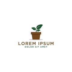 Plant Pot Logo Design Template
