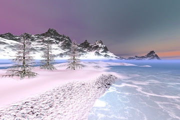 Snowy mountains, a polar landscape, beautiful trees, frozen waters and colored clouds in the sky.
