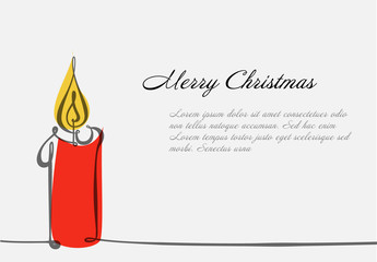 Christmas Card Layout with Candle Illustration