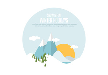 Winter Holiday Layout with Mountain Landscape Illustration