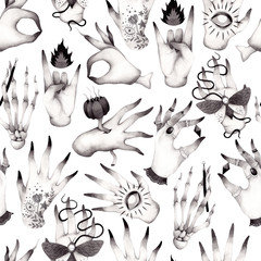Black and white pattern with different hands