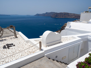 Traditional decoration element in Oia village, Santorini island, Greece. June, 2018