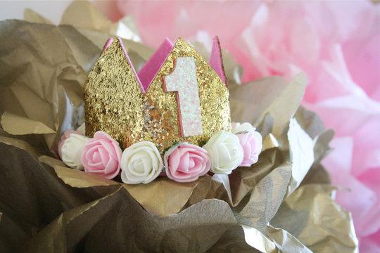 First Birthday Crown on Tissue Paper
