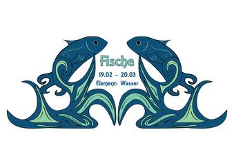 Design: Sternzeichen Fische, Text in deutsch: Fische, Datum, Element:Wasser. Vektorgrafik Eps10