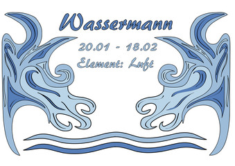 Design: Sternzeichen Wassermann, Text in deutsch: Wassermann, Datum, Element:Luft. Vektorgrafik Eps10