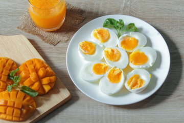 boiled egg for breakfast with orange juice and mango