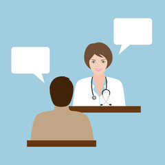 Dialogue of doctor and patient on a blue background