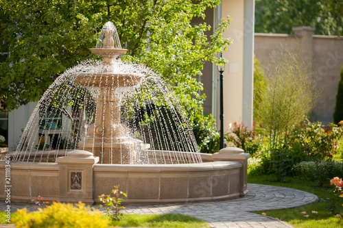 Large Round Cascading Concrete Fountain