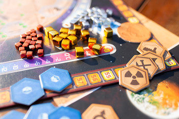 Moscow 18 june 2018, components of the board game at the table. Terraforming Mars game