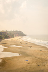 Nice view of Varkala beach from the top of the cliff also known as Papanasham Beach,  Thiruvananthapuram, Kerala, India