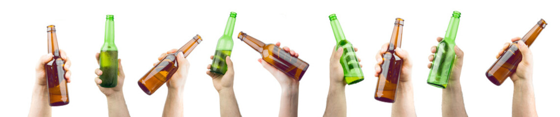 Bunch Of Hands Holding Ice Cold Wet Brown And Green Beer Bottles Isolated On White Background