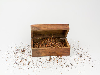 tea in chest close up white background