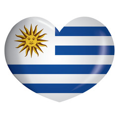 Illustration heart icon with flag of Uruguay. Ideal for catalogs of institutional materials and geography