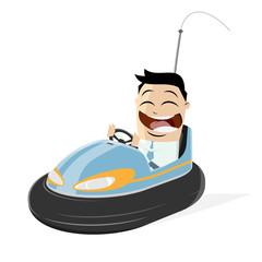happy businessman in a bumper car