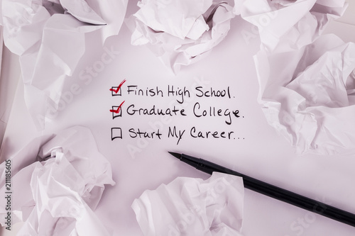 Education checklist starting a career background crumbled up