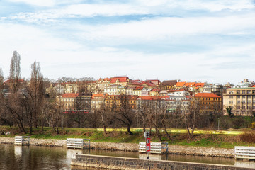 Prague - Podoli Quarter as seen from the Vltava River.