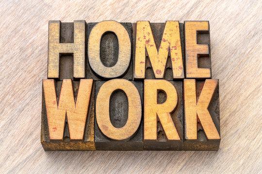 homework word abstract in vintage wood type