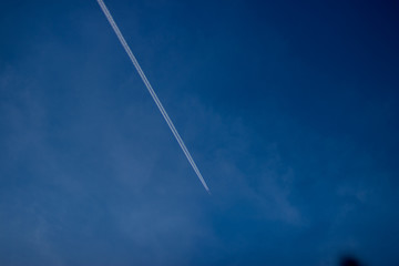 Contrails in sky