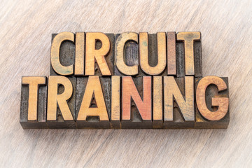 circuit training word abstract in wood type