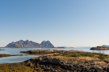 Seascape near the fishing harbour of Svolvaer at Lofoten Islands / Norway