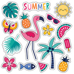 Cartoon style vector summer patches with cute pink flamingo, tropical leaves and flowers, summer fruits and popsicle. Isolated on white, for stickers, pins, badges, embroidery, temporary tattoos.