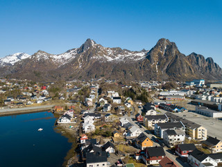 Aerial view over the city of Svolvaer at Lofoten Islands / Norway