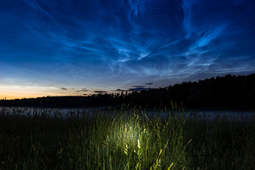 Atmospheric phenomenon of noctilucent clouds (night shining clouds), June 25, 2018, Central Russia