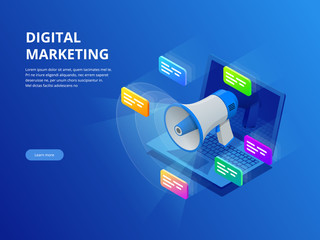 Isometric digital marketing, business marketing, success and goals, new startup project concept.