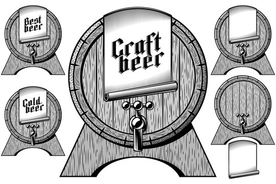Vintage wooden beer barrel on stand with beer tap. Label tag with inscription Craft, Cool, Best in gothic german style for brewing bar, Oktoberfest. Set of vector graphic retro engraving illustration.