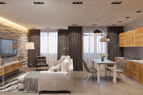 3d render interior design in scandinavian style living room and rh fotolia com