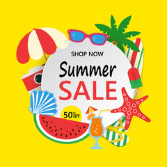 Summer Sale banner with colorful beach elements. Summer sale background with palm, surfboard, watermelon, sunglass, photo camera, seashell, starfish, beach umbrella, ice cream, flip flops. Bright