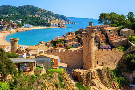 Tossa de Mar, sand beach and Old Town walls, Catalonia, Spain