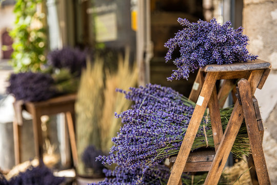 Beautiful bunches of lavender in a small village in Provence, France