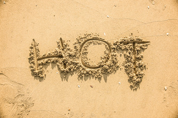 Hot written in the sand