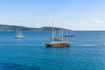 Bodrum, Turkey, 19 May 2010: Sailboats at Aegean Sea