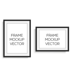 Realistic horizontal and vertical black photo frame for your design. Vector