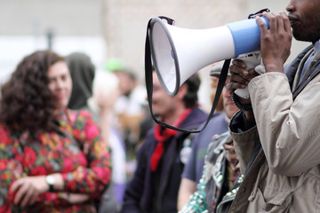 Protestor with a bullhorn.