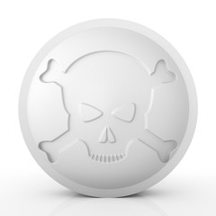 One large white pill with skull and crossbones - 3d render
