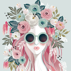 Wall Mural - Vector illustration of a sunglasses girl with floral headdress in spring for Wedding, anniversary, birthday party. Design for banner, poster, card, invitation and scrapbook