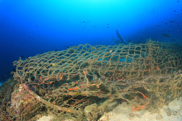 Ghost net - abandoned fishing net in ocean