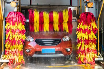 car washing closeup