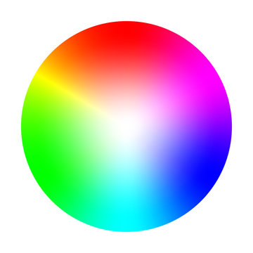 Color wheel or circle with coloristic variations round table