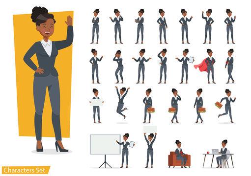 Businesswoman working character design set. Vector design. no2