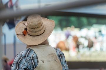 Rodeo rider waiting his turn