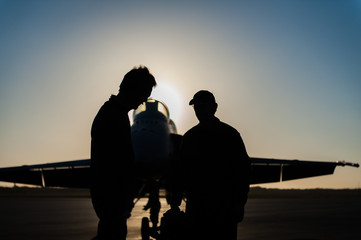 Pilot and crewman discussing in front of jet
