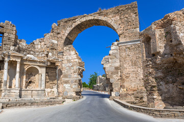 Vespasian gate to the ancient city of Side, Turkey