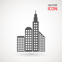 Flat Buildings, skyscrapers, business center, offices and houses vector illustration. Modern city, Urban landscape concept. Vector city buildings silhouette icons