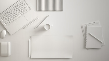 White monochrome minimal office table desk. Workspace with laptop, notebook, pencils and coffee cup. Flat lay, top view, blank paper mockup template
