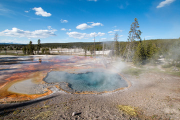 Steam on Firehole Spring on Firehole Lake Drive in Yellowstone National Park in Wyoming United States