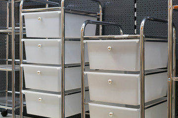 Shelving with plastic boxes